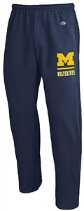 Michigan Wolverines Adult Blue Open Bottom Powerblend Sweatpants by Champion