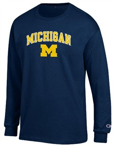 Michigan Wolverines Arched Stadium Long Sleeve T Shirt by Champion
