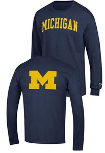 Michigan Wolverines Blue 2 Sided Arched Long Sleeve T Shirt by Champion