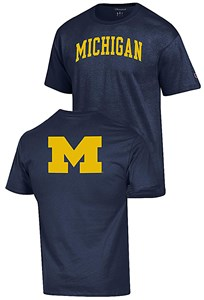 Michigan Wolverines Blue 2 Sided Arched Short Sleeve T Shirt by Champion