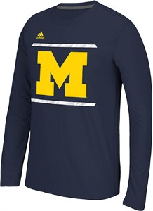Michigan Wolverines Blue Adidas Sidelines Energize Ultimate Polyester Long Sleeve Shirt