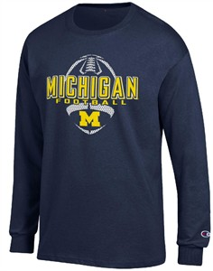 3cdaf8802 Michigan Wolverines Blue Football Long Sleeve Tee Shirt by Champion ...