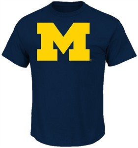 Michigan Wolverines Blue Icon College T Shirt by Majestic