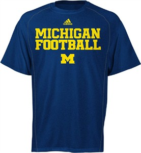 Michigan Wolverines Blue Synthetic Climalite Team Practice Short Sleeve Shirt by Adidas