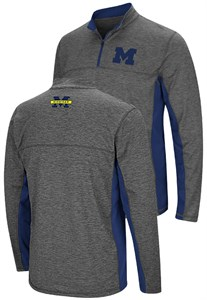 Michigan Wolverines Charcoal Mens Milton Quarter Zip Synthetic Windshirt