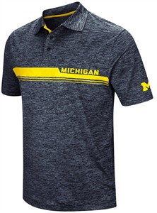 Michigan Wolverines Colosseum Dig In Mens Polyester Polo-Blue