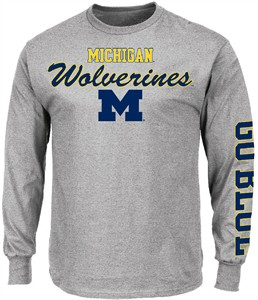 Michigan Wolverines Grey Majestic Plan of Attack Mens Long Sleeve Tee Shirt
