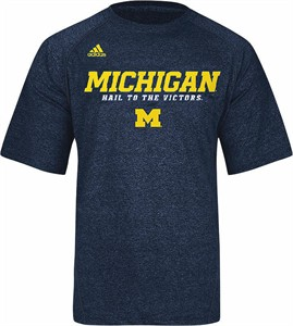 Michigan Wolverines Heather Blue Climalite Slogan Sidelines Top by Adidas