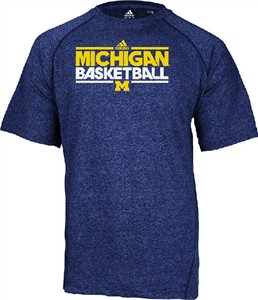 Michigan Wolverines Heather Blue Dribbler Short Sleeve Climalite Basketball Practice Shirt by Adidas