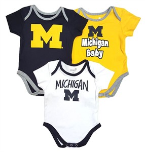 Michigan Wolverines Infant & Toddler Moms Choice 3 Pack Creeper Set