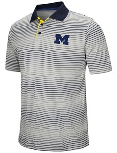 "Michigan Wolverines Men's ""Number One"" Striped Polyester Polo"