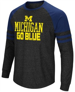 Michigan Wolverines Men's Charcoal Hybrid Raglan Long Sleeve T Shirt