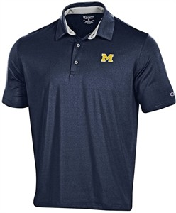 Michigan Wolverines Mens Blue Blitz Polyester Polo Shirt