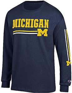 Michigan Wolverines Mens Blue Champion Vertical Long Sleeve T Shirt on Sale