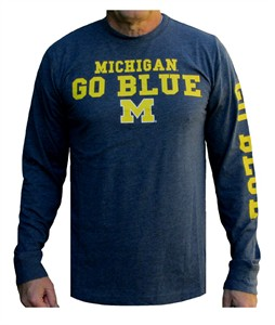 Michigan Wolverines Mens Heather Blue Colosseum Game Changer Long Sleeve T Shirt