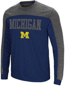 Michigan Wolverines Mens Blue Express Yourself Long Sleeve T Shirt
