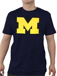Michigan Wolverines Mens Blue Slimmer-Fit Icon Logo T Shirt