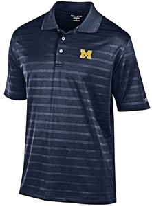 Michigan Wolverines Mens Blue Texture Solid Synthetic Polo Shirt