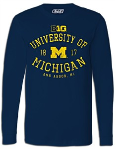 Michigan Wolverines Mens Essential Long Sleeve College Tee Shirt