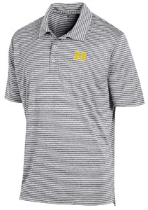 Michigan Wolverines Mens Grey Stadium Stripe Synthetic Polo Shirt by Champion