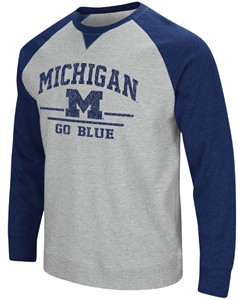 Michigan Wolverines Mens Grey Turf Fleece Crew Sweatshirt