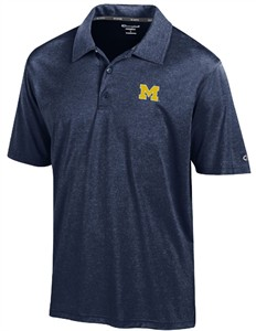 Michigan Wolverines Mens Marine Navy Heather Champion Synthetic Polo Shirt