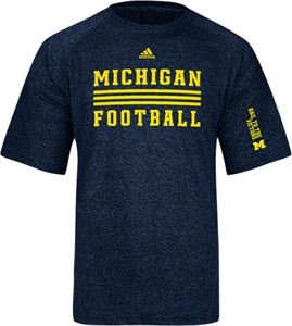 Michigan Wolverines Sidelines Evade Heather Blue Climalite SS Shirt by Adidas
