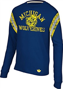 Michigan Wolverines Vintage Applique Long Sleeve Shirt by Adidas