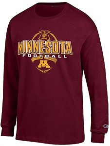 Minnesota Golden Gophers Maroon Football Long Sleeve Tee Shirt by Champion