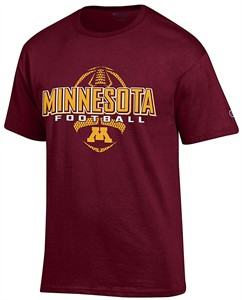Minnesota Gophers Maroon Football Short Sleeve T Shirt by Champion