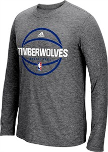 Minnesota Timberwolves Adidas On-Court Dark Charcoal Pre-Game Synthetic Slimmer Fit Long Sleeve T Shirt