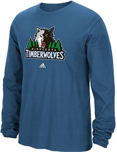 Minnesota Timberwolves Blue Adidas Primary Logo Long Sleeve Tee Shirt