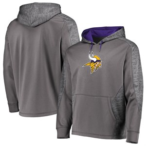Minnesota Vikings Grey Poly Shield Synthetic Hoodie Sweatshirt