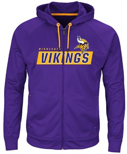 Minnesota Vikings Mens Purple Game Elite 2 Full Zip Synthetic Hoodie  Sweatshirt  8551e051b
