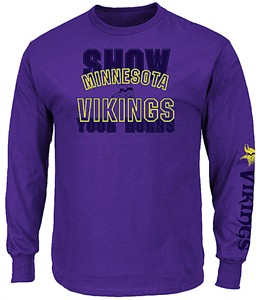 Minnesota Vikings Mens Purple Primary Receiver 3 Long Sleeve T Shirt
