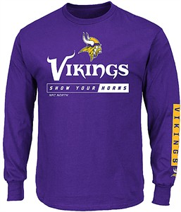 Minnesota Vikings Purple Primary Receiver 2 Long Sleeve Football Tee Shirt