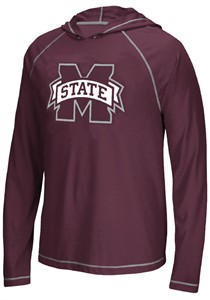 Mississippi State Bulldogs Adidas School Logo Ultimate Climalite Long Sleeve Hoodie T Shirt