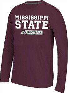 Mississippi State Bulldogs Adidas Ultimate Sideline Gridiron Performance Long Sleeve T Shirt