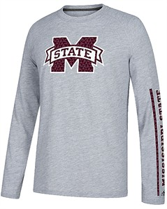 Mississippi State Bulldogs Grey Adidas Sleeve Play Poly Climalite Long Sleeve T Shirt