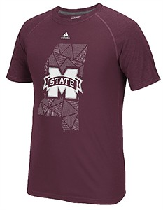 Mississippi State Bulldogs Maroon Geometric Climalite Short Sleeve Shirt by Adidas