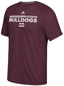 Mississippi State Bulldogs Maroon Sideline Hustle Climalite Short Sleeve Shirt by Adidas