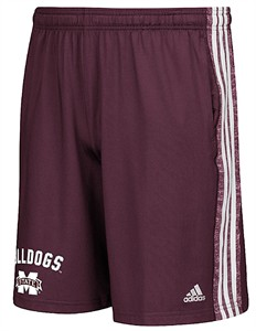 Mississippi State Bulldogs Mens Adidas Climalite Shorts-United Arch-Maroon