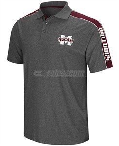Mississippi State Bulldogs Mens Charcoal Synthetic Southpaw Polo Shirt
