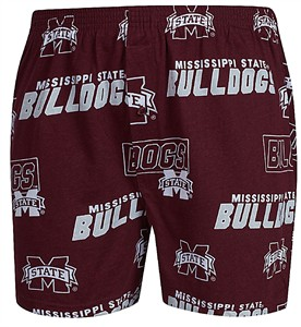 Mississippi State Bulldogs Mens Maroon AOP Cotton Slide Boxer Shorts