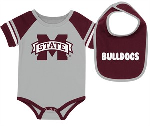 Mississippi State Bulldogs Newborn & Infant Grey Bodysuit & Bib Set