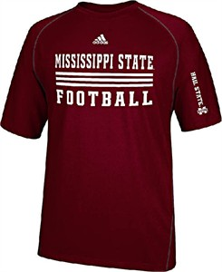 Mississippi State Bulldogs Sidelines Evade Heather Maroon Climalite SS Shirt by Adidas
