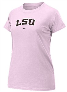 LSU Tigers Pink  Women's  College Arch Short Sleeve Tee Shirt By Nike