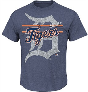 MLB Detroit Tigers Heather Blue Rise To Victory Short Sleeve T Shirt by Majestic