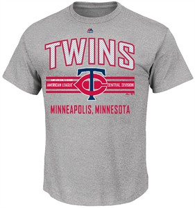 MLB Minnesota Twins Grey 1st to 3rd Short Sleeve T Shirt by Majestic