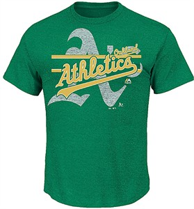 MLB Oakland Athletics Heather Green Rise To Victory Short Sleeve T Shirt by Majestic